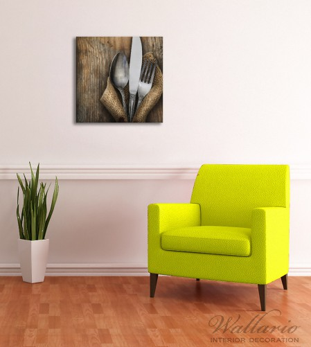 Leinwandbild Besteck Set Wandbilder Leinwandbilder Küche 50 x 50
